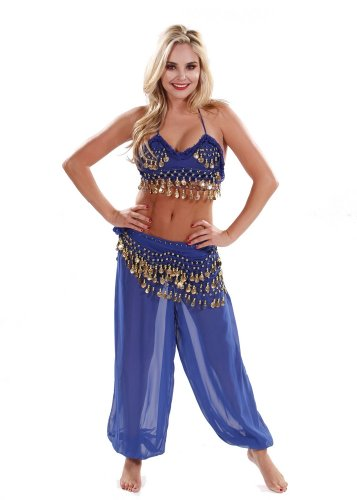 Belly Dancer Costumes Halloween (BellyDancing Halloween Costume Set | Harem Pants & Halter Top | The Harem Dancer - Royal/Gold - Small/Medium)