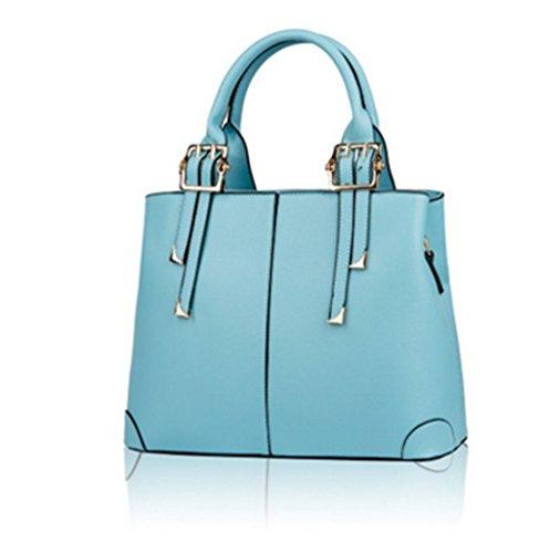 Hollwald Women Designer Fashion HandBags Ladies Faux Leather Shoulder Tote Satchel Cross Body Grab Handbags Sky Blue