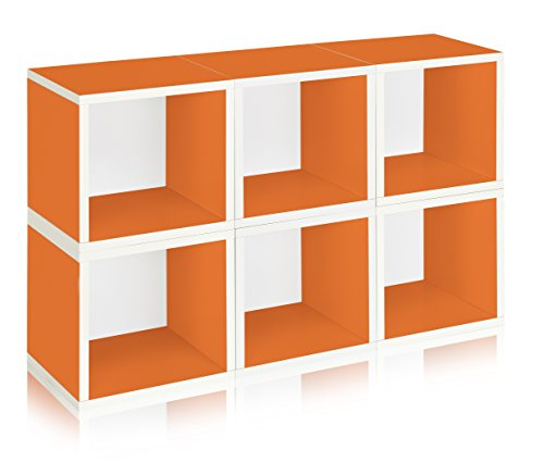 Way Basics Eco Stackable Modular Storage Cubes (Set of 6), Orange (made from sustainable non-toxic zBoard (Basic Side Load Stackable)