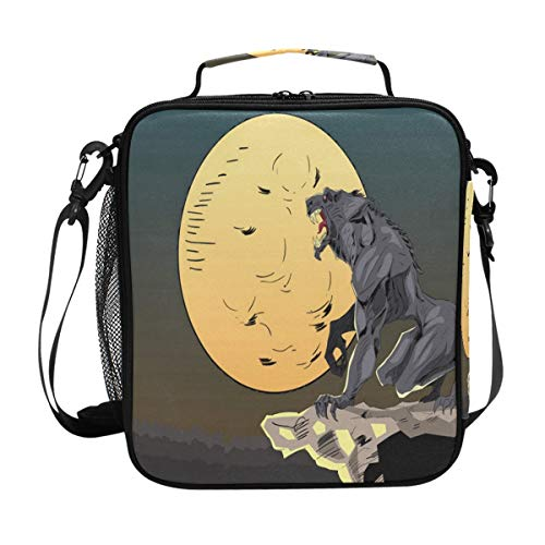 Lunch Box Insulated Waterproof Halloween Background With Wolf Lunch Bag for School Office Picnic -