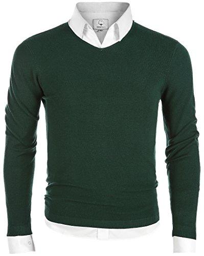 MOCOTONO Men's V-Neck Long Sleeve Pullover Casual Sweater Dark Green ()
