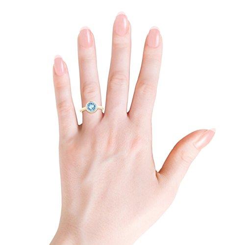 Bezel-Set Round Aquamarine Solitaire Engagement Ring for Women