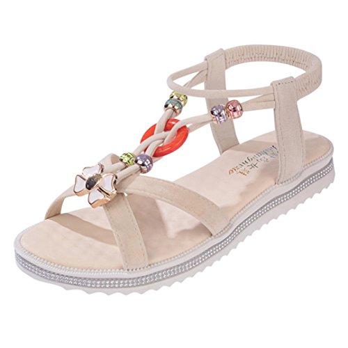 BZLine® Frauen Peep-Toe Low Schuhe Römische Sandalen Damen Flip Flops Sandalen Beige