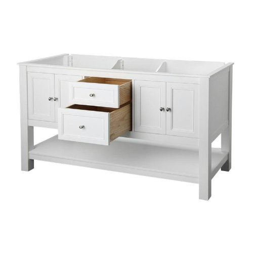 "Foremost FMGAWA6022D Gazette 60"" Vanity Cabinet Only, White"