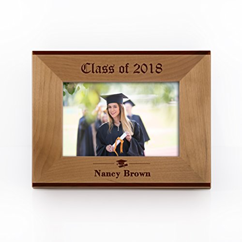 Engravable Wood Picture Frames - Personalized Graduation Gift Class of 2018 Picture Frame Customizable with Name - Unique Keepsake Graduation Gift | Size Options 4x6, 5x7, 8x10#F19