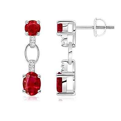 Angara Dangling July Birthstone Ruby Earrings in in Platinum XYajlYnDFj