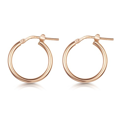Amberta Rose Plated on Fine 925 Sterling Silver - Pair of Hinged Hoops - Creole Sleeper Earrings - Diameter Size: 15 mm ()