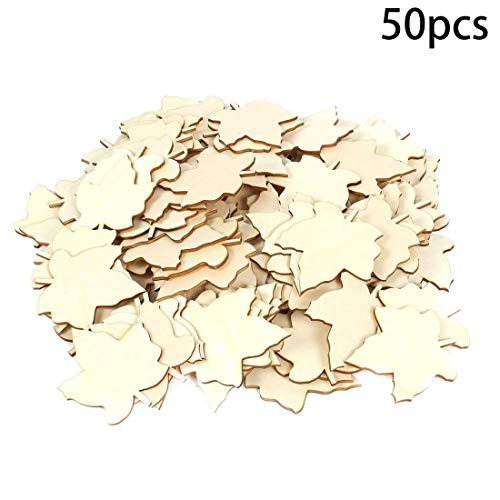 Booluee 50 Pcs Blank Wood Slices Unfinished Wood Cutout Maple Leaf Shaped Embellishments Wood Pieces for DIY Craft, Gift Tags, Wedding, Christmas, Home Decoration (Maple Leaf)