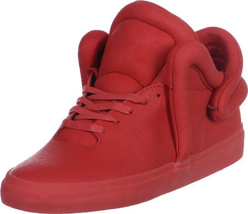 Supra Falcon Mens Red Leather High Top Lace Up Sneakers Shoes nW1e2pk