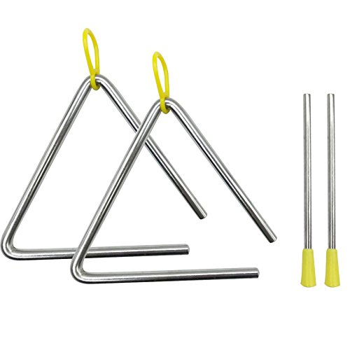 2 Sets Music Triangle with Striker, Granmp 5 Inch Musical Triangle Musical Instrument Music Triangle Percussion Triangle for Early Preschool Education ()