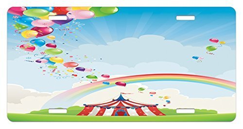 zaeshe3536658 Circus License Plate, Circus Rainbow and ColorfuBalloons Freedom Theme Traveling Cloudscape Festival, High Gloss Aluminum Novelty Plate, 6 X 12 Inches. by zaeshe3536658