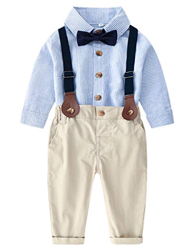 DAIMIDY Baby Boys Formal Clothes, Long Sleeves Button Down Dress Shirt and Suspender Pants Set Tuxedo Wedding Gentlemen Outfit with Bow Tie, 8# Light Blue Pin Stripe, 3-4 Years = Tag 120