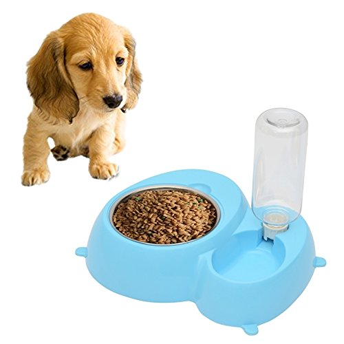 bluee Happy-L Pet Supplies, Detachable Anti-Slippery Mat Pets Bowls 2 in 1 Stainless Steel Bowls (color   bluee)