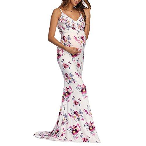 BOOMJIU Women's Off Shoulder Sleeveless Ruffles Lace Maternity Gown Maxi Photography Dress White by Women Dress (Image #4)