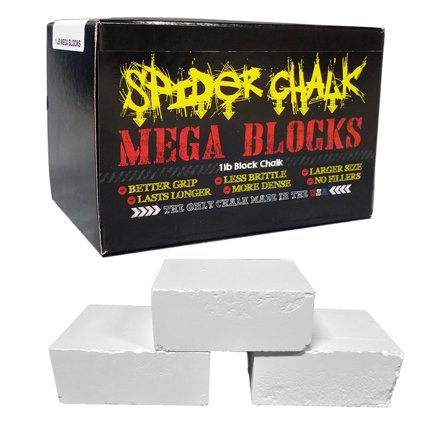 Spider Chalk Weightlifting Block Chalk, Best Gym Workout Chalk for Lifting Weights, Gymnastics, Rock Climbing, Mega Blocks, 99% Pure Block Athletic Chalk, USA Made