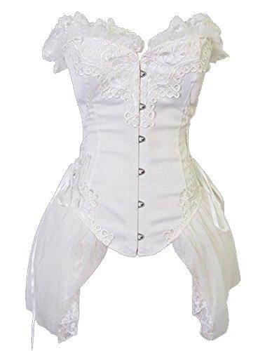 Fancy Dress Corsets - Kiwi-rata Women Sexy White Mesh Princess Punk Elegant Boned Corset Top Fancy Dress White size S