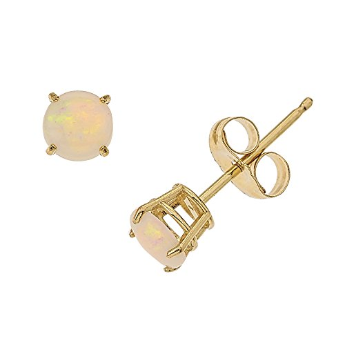 Price comparison product image 14k Gold Genuine .50ct TW Opal October Birthstone Children's Earrings