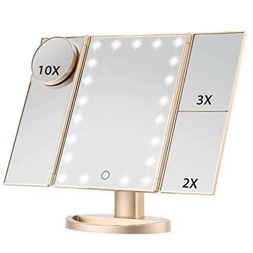 Led Lighted Makeup Represent, Magicfly 10X 3X 2X 1X Magnifying Mirror 21 LED Tri-Fold Vanity Mirror with Touch Screen and 180° Adjustable Stand, Brightness Hang around Beauty Mirror (Gold)