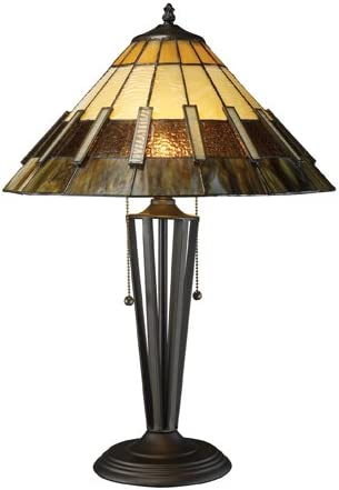 Dimond D1860 16-Inch Width by 23-Inch Height Porterdale 2 Light Table Lamp in Tiffany Bronze with Tiffany Glass Shade