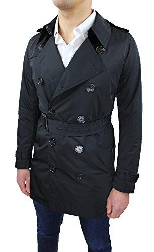 Jacke Trench Herren schwarz Slim Fit Tailliert Casual Jacke Lang Mantel