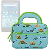 Evecase 7- 8 inch Amazon Fire Tablet Sleeve Case, Cute Dinosaurs Themed Carrying Neoprene Sleeve Case Bag For 2017 New Fire 7 / Fire HD 8, 2016 Fire HD 7 / HDX 7 and More - Blue w/ Green Trim