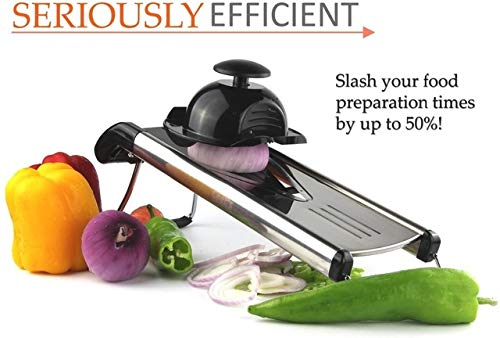 BeesClover 1Set Multi-Function Kitchen Slicer Set Mandoline- with Stainless Steel Sharp Blade BPA-Free ABS (V-Slicer Black Color)(206) Show