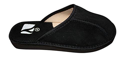 Bosaco Femmes Confort Slip De Luxe Sur Des Pantoufles En Daim Véritable Cuir Noir