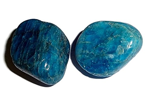 Apatite Natural - Apatite 2pc #5, Blue Apatite Large Tumbled & Polished Natural Healing Crystal Gemstone collectible, Display or wrapping Specimen Stone