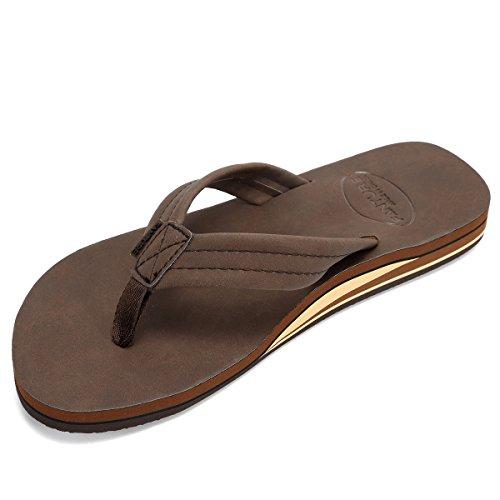Lancholy Mens Flip Flops Arch Support Sandals for Beach, Casual, Outdoor & Indoor DNDCHTX,Dark.Brown,45