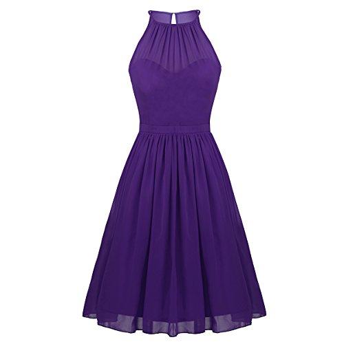 Freebily Vestidos Elegante para Boda Vestidos Corto de Gasa de Fiesta para Mujeres, Cuello Colgante Vestidos Dama de Honor Morado