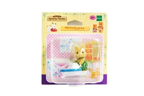 Original Sylvanian Families Maple Dog Baby with Boat