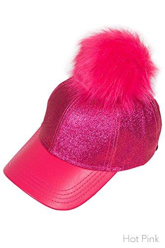 ScarvesMe CC Glitter Removable Fur Pom Pom Baseball Cap (Black) at Amazon  Women s Clothing store  a1d40ec43e6