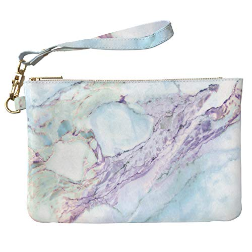 b8aa5a673ba8 Lex Altern Makeup Bag 9.5 x 6 inch Teal Marble Ink Blue Watercolor Pastel  Wristband Girly Accessory Design Printed Purse Pouch Cosmetic Travel  Leather ...
