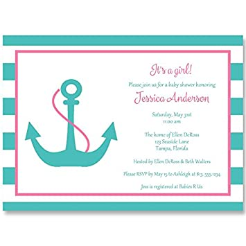 Amazon nautical baby shower invitations anchor anchors away nautical baby shower invitations anchor anchors away stripes girls aqua filmwisefo