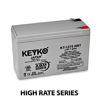 12V 7.5Ah / Real 8Ah Deep Cycle AGM / SLA Battery for Wheelchairs Scooters Mobility UPS & Solar - Genuine KEYKO - F-1 & F-2 Terminal