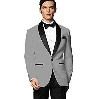 MYS Men de Custom Made Groomsman esmoquin traje de gris ...