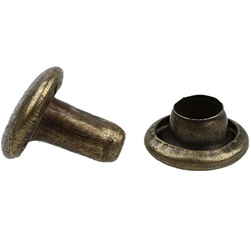 SODIAL(R) 100 Sets 6mm Round Antique Brass Rivets Rapid (Round Rivet)
