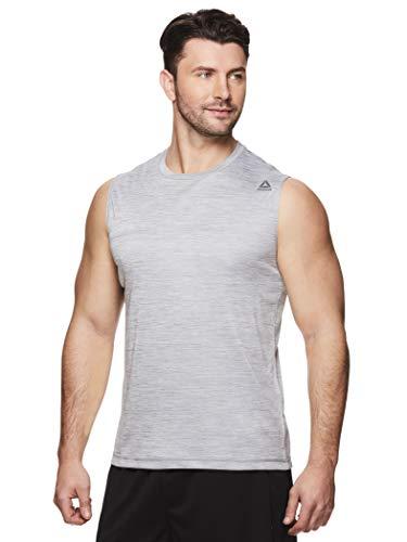 Reebok Men's Muscle Tank Top - Sleeveless Workout & Training Activewear Gym Shirt - Charger Sleet Heather, Small