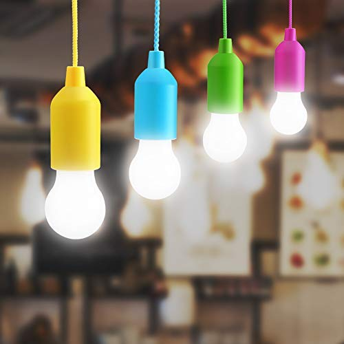 best service 50609 885f8 Lightess LED Pull Cord Light Bulb Battery Operated Decorative LED Hanging  String Light in 4 Different Colors for Indoor Outdoor Garden Camping Party  ...