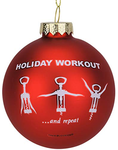 Tree Buddees Wine Opener Holiday Workout Funny Glass Christmas Ornament]()