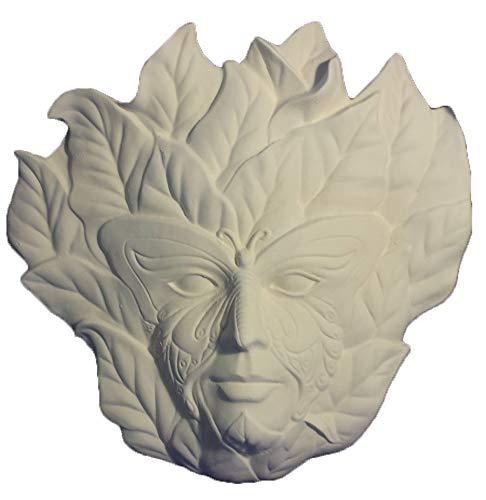 """14"""" Butterfly Leaf face plaque ceramic bisque u paint"""
