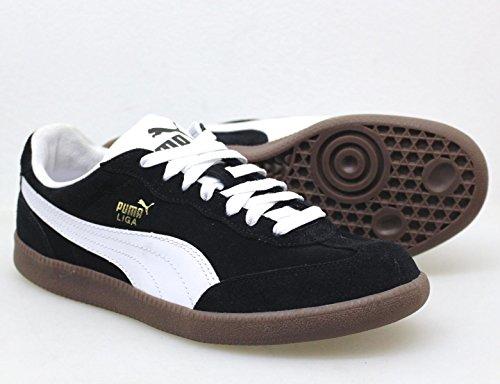 Puma la Liga Suede Lace Up Trainer Negro/Blanco negro