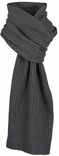 Charcoal Plain Ribbed Knitted Scarf by Dents