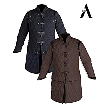 Image of AnNafi Thick Padded Medieval Gambeson Armor | Theater Costumes Full Sleeves Dress SCA| Cotton Fabric Aketon Jacket | Arming Doublet | Clothing
