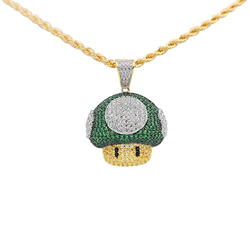 Yellow Gold-Tone Hip Hop Bling Cubic Zirconia Super Mario Green Super Mushroom Pendant with 24