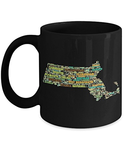 Massachusetts Cities In The Shape Of The State Black 11 oz Coffee - Westfield City West