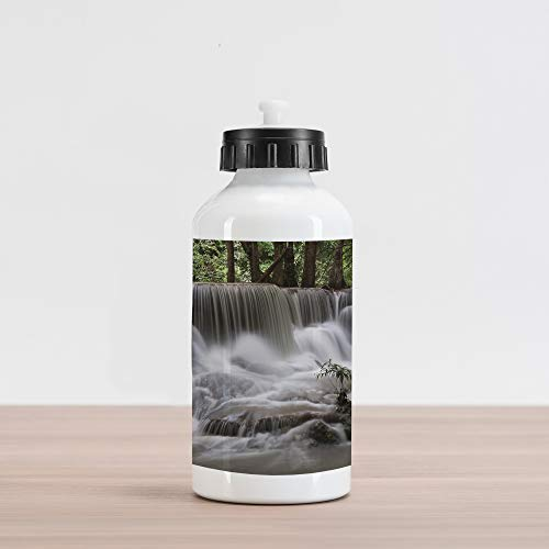 (Lunarable Waterfall Aluminum Water Bottle, Mystic Waterfall in Forest Trees with Splashing Water Babbling Brook, Aluminum Insulated Spill-Proof Travel Sports Water Bottle, Dark Brown White Green)
