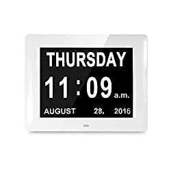 Digital Calendar, Witmoving Dementia Day Clock 8 Inch Memory Loss Large Screen Non-Abbreviated For Elderly Seniors (White)