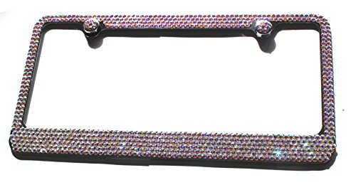 Hotblings 6 Row CRYSTAL AB made w/SWAROVSKI Elements Metal Sparkle Bling License Plate Frame & Caps Set -  SW6R-02