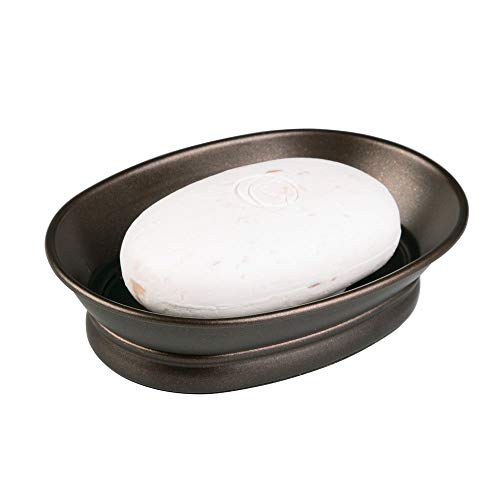 InterDesign York Countertop Bar Soap Dish, Metal Soap Holder for Bathroom, Shower, Vanity, 3.87